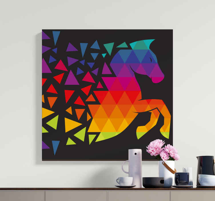 TenStickers. Horse with colorful dods framed horse pictures. All of your friends and family will be so jealous of your brand new piece of decor with this cool horse canvas print product! Buy this now!