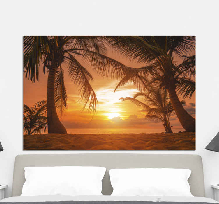 TenStickers. Sunset on beach headboard wall art canvas. Beautiful beach sunset landscape canvas art to decorate on any space to improve it with the soothing attention of nature.
