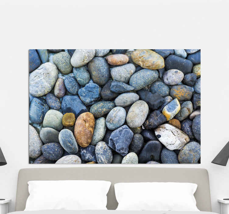 TenStickers. Sea stones headboard wall art canvas. Compete the decor of your home space or any other space with our luxury looking sea stones canvas prints. It is produced with good quality material.