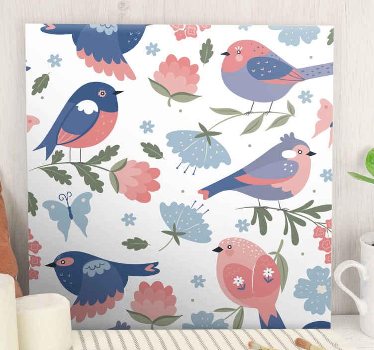 Image of Dipinto con uccelli Modello di uccelli blu