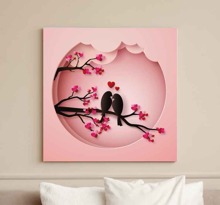 Image of Dipinto con uccelli Uccelli moderni che si baciano