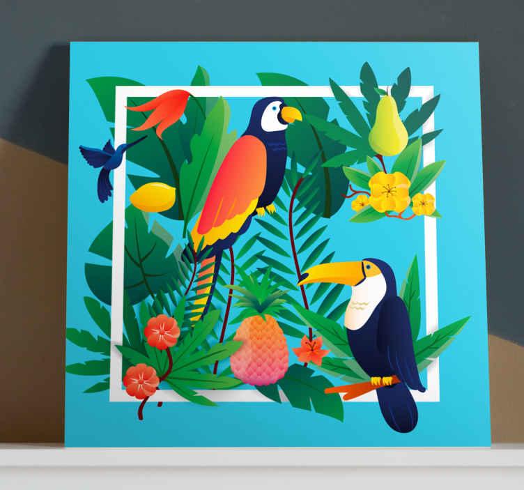 Image of Dipinto con uccelli Uccelli tropicali con frutti