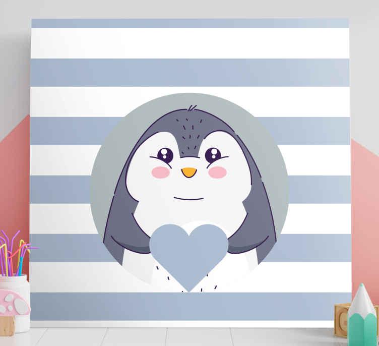 Pintura Habitación Bebé Corazón De Pingüino De Dibujos Animados B Tenvinilo