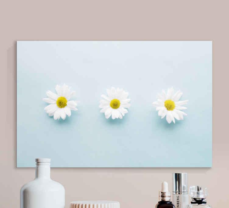 Image of Quadro fiori Tre fiori margherita sull'azzurro