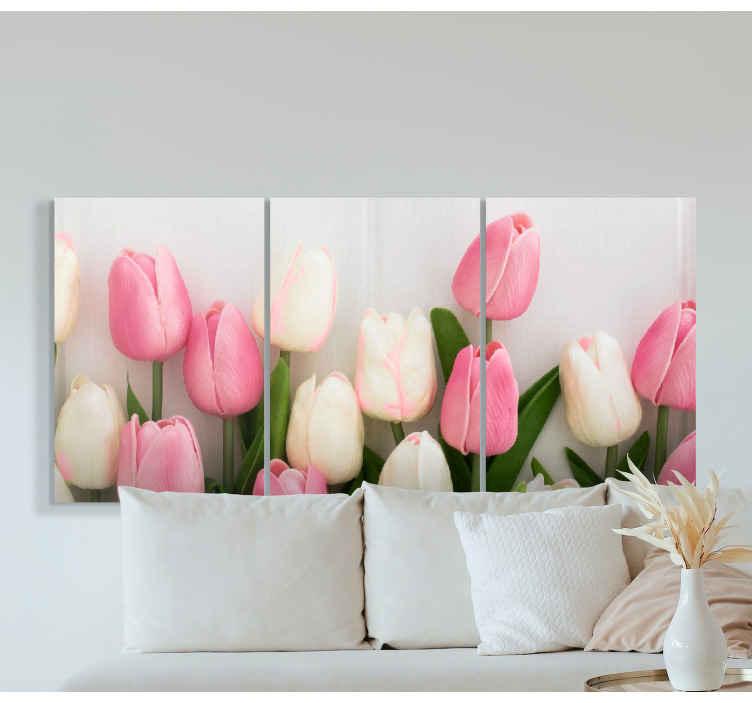 Image of Quadro fiori Fiori colorati su sfondo chiaro