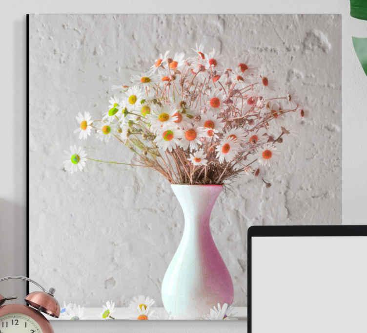 Image of Quadro fiori Fiori margherita in vasi colorati