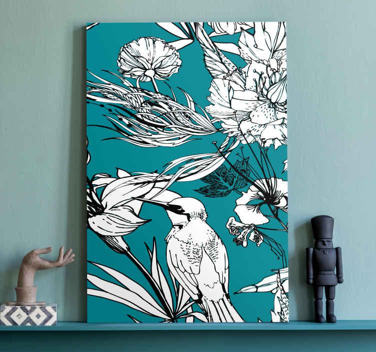Image of Dipinto con uccelli Modello elegante di uccelli selvatici bianchi
