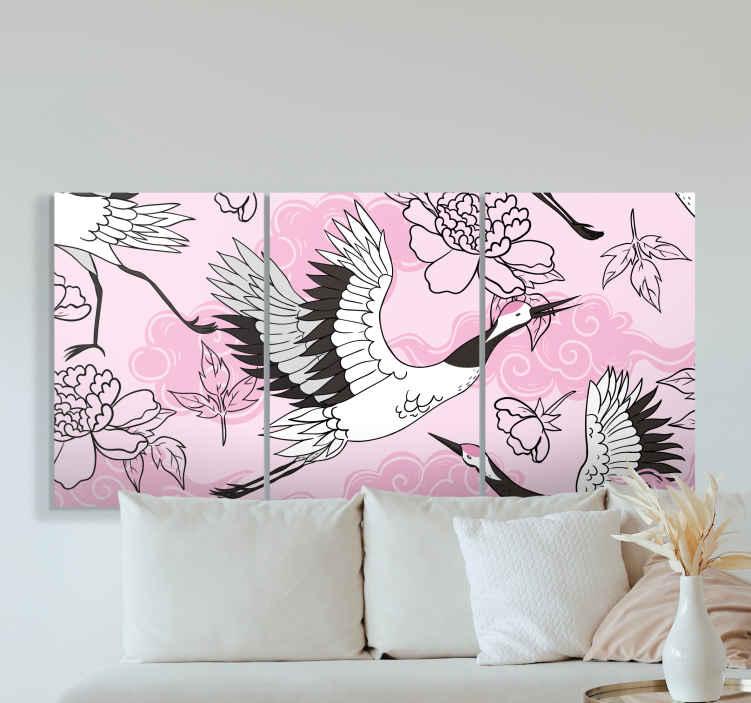 Image of Dipinto con uccelli Uccelli selvatici moderno modello rosa