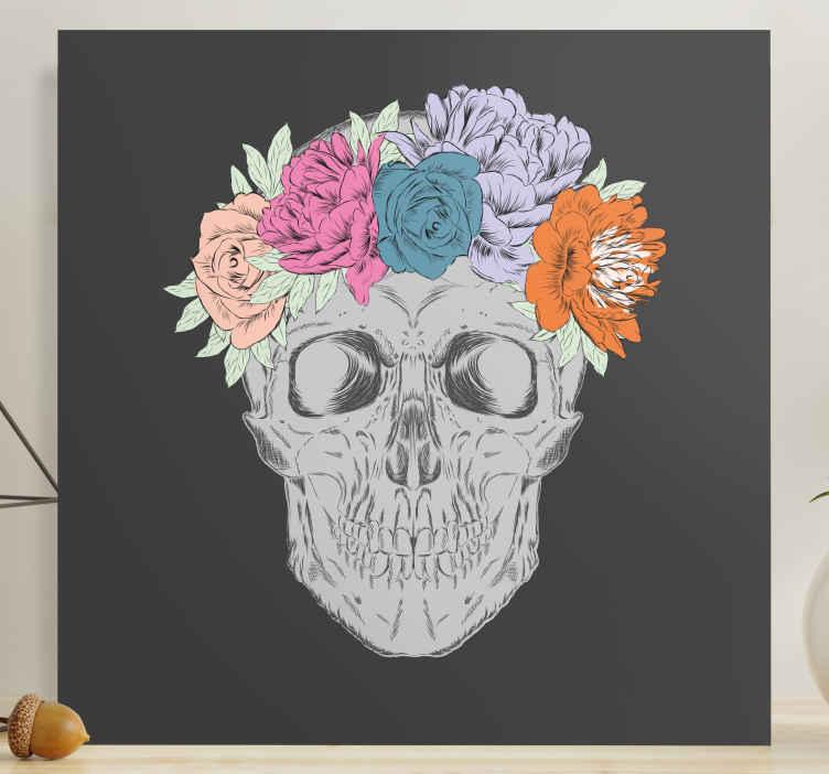Image of Quadro fiori Teschio con fiori colorati
