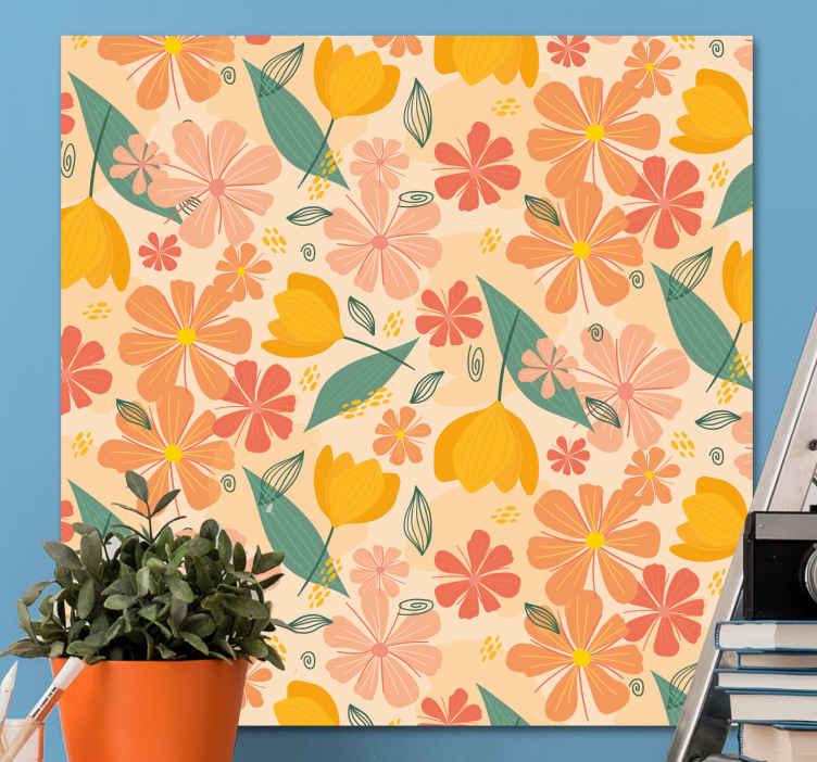 Image of Quadro fiori Foglie e fiori colorati vintage