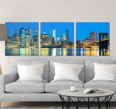 纽约市东河画布艺术的美景为您的家。该设计在夜间展示了摩天大楼,桥梁和河流的壮丽景色。