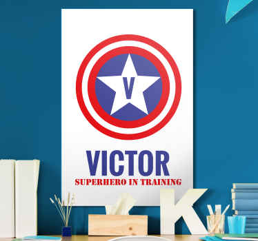 The perfect customisable canvas print in a superhero theme just for your kids. A personalised stickers that look amazing.