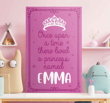 Customizable name canvas with princess quote. This pink fairy tale text phrase canvas is a lovely choice to decorate the room of a girl.