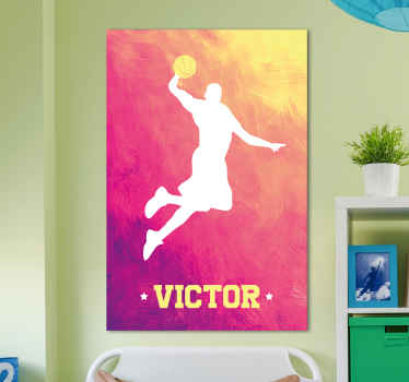 Personalize your name on our canvas prints design of a basketball player. It is original and available in any size you want.