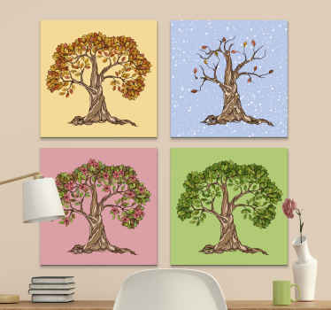 a wonderful four seasons canvas wall art with tree illustrations of every season of this year to decorate any room in your house.