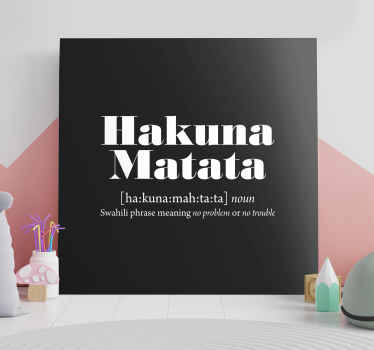 Beautiful quote canvas wall art with famous 'Hakuna matata' phrase on a solid black background.  Easy to hang and printed in high quality finish.