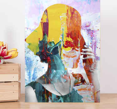 Colorful woman art  canvas artwork prints. This abstract  wall canvas would beautify your home with an original effect. It is original and light weight.