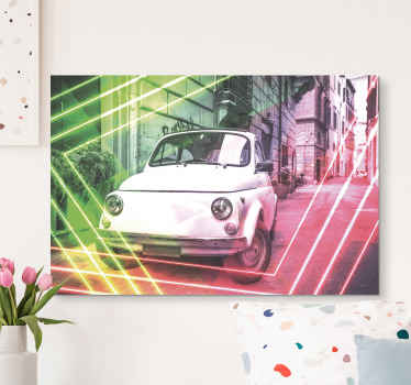 City canvas wall art made of the best quality and material the image of a car from the old times in the country of Italy to decorate your home.