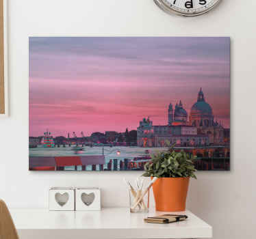 An illustration canvas prints of beautiful sunset in Venice city. The design shows beautiful Venice attraction structures around a sea port at sunset.