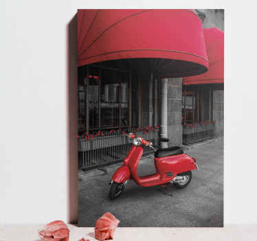 Realistic parked red Italian scooter canvas. The design illustrates a scooted packed in front of a building.  Printed with high quality finish.