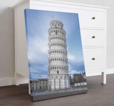 Prächtiger leinwanddruck der stadtattraktion des mageren turms von pisa in italien. Das canvas-design eignet sich hervorragend für büro- und heimdekorationen.