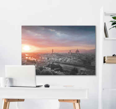 Sunset skyline canvas print of Florence city Italy. The design shows the over view of the city's metropolis at sunset. Printed in high quality finish.