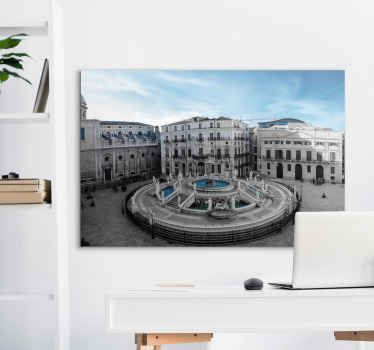 With our original Piazza Pretoria in Palermo  city canvas wall art you can decorate your home in a modern and elegant way. Original and durable.