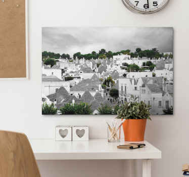 You can purchase our amazing Alberobello trulli city home canvas prints with design of it houses in the composition that fit best with your space.