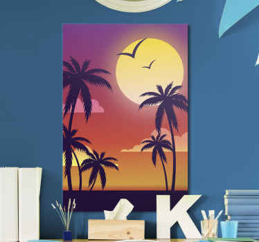 70's sunset vertical landscape canvas. A soothing and calm beach inspired canvas art displaying every feature of a beautiful beach view at sunset.