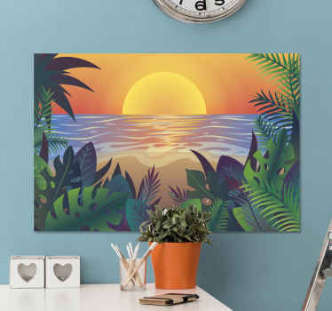 Retro sun bearch landscape canvas to decorate any part of your home. The design is amazing and would give your home a modern look and atmosphere.