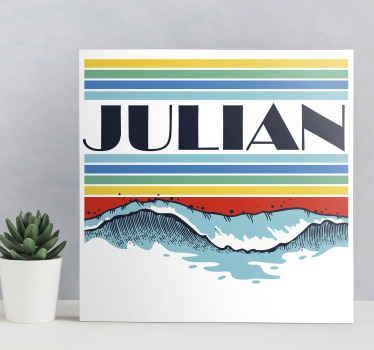 Toile personnalisée décorative vagues rétro. La conception de la toile illustre la vague de plage avec des couches colorées représentant la réfraction du soleil.