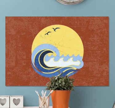 Soleil, plage et vague impression sur toile vintage. Améliorez le look de votre maison ou de votre bureau de manière moderne avec notre impression sur toile originale en bord de mer.