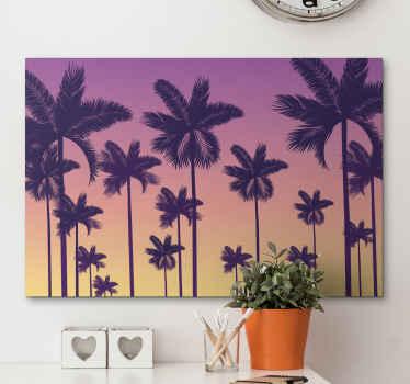 Cuadro de paisaje con puesta de sol con palmeras y cielo en tonos rojizos para que decores tu casa ¡Descuentos disponibles en la web!