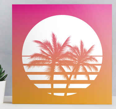 70's vintage landscape canvas with design of palm tree with sunset effect to decorate your home or office to create nature's present in it.