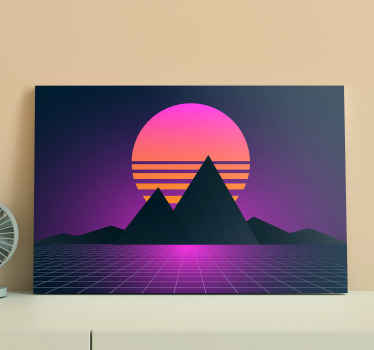 Landscape picture canvas print for your house, office and other space decoration. A canvas with lovely design illustrating mountain view at sunset.