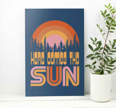 Vintage sun music canvas art for your home and office space decoration. A design illustrating sunset on forest landscape with inscribed text.