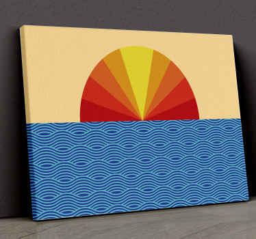 Cuadro vintage del sol de los años 70 con diseño de paisaje de colores de puesta del sol sobre las olas del mar ¡Descuentos disponibles!