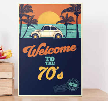Lovely picture landscape canvas containing design of a beach landscape with palm trees and a parked vintage car with the text 'Welcome to the 70's.