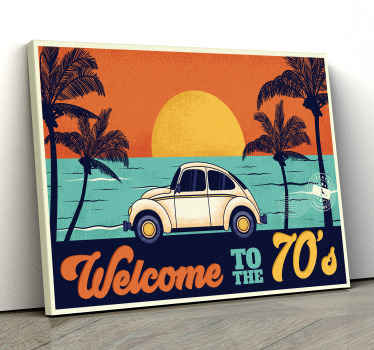 Decorative portrait  vintage landscape canvas print containing design of a beach landscape, sunset with palm trees and a parked vintage parked car.