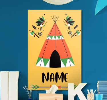 Beautiful nursery room canvas print with lovely design of a teepee and customizable name. The canvas is printed in high quality finish.