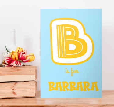 The best alphabet and letter canvas print to add some customised character and uniqueness to your home. Personalised wall art.