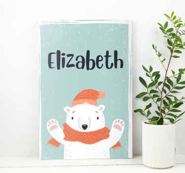 Een schattige aanpasbare naam ijsbeer canvas schilderij die u zal helpen om u voor te bereiden op kerstmis. Kortingen online beschikbaar.