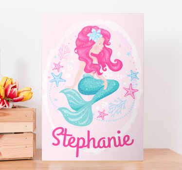 A stunning mermaid canvas print that your little girl can customise with her very own name. Extremely long-lasting material.