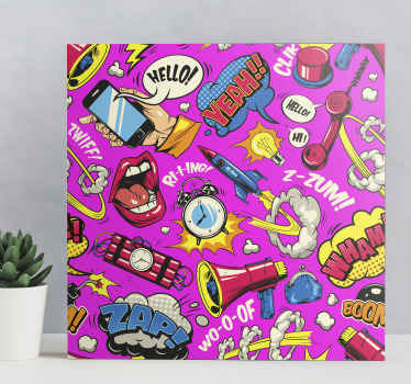 Original canvas design which features a variety of classic cartoon imagery including lips, speech bubbles and dynamite. High quality.