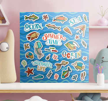 Kids canvas print which features  lots of different images to do with the ocean including fish, shells and seaweed. Choose your size.