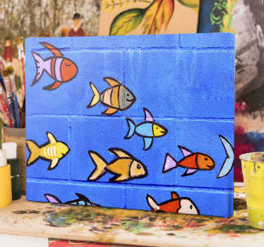 Fish canvas print which features a group of drawn fish all swimming together and smiling in the ocean. High quality materials.