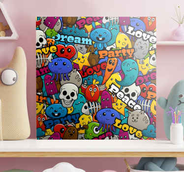 Cartoon canvas print design which features a collage of smiling cartoon creatures such as cats, bears and jellyfish. Discounts available.