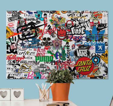 Modern canvas print which features the logos of various brands including Puma, Vans, Hollister and Prada as well as so many more!