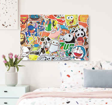 Kids canvas print which features images of various well known cartoon characters including SpongeBob, Bart Simpson, Mario and Baymax!