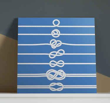Nautisk veggkunstduk som inneholder instruksjoner langs 7 forskjellige linjer med tau om hvordan du knytter en sjømannsknute. Høy kvalitet.